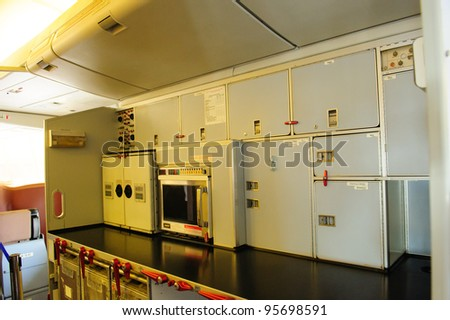 SINGAPORE - FEBRUARY 12: Galley of Singapore Airlines' (SIA) last Boeing 747-400 aircraft at Singapore Airshow February 12, 2012 in Singapore