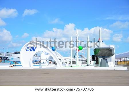 SINGAPORE - FEBRUARY 12: Israel Aerospace Industries (IAI) Arrow Weapon System and exhibition showcase at Singapore Airshow February 12, 2012 in Singapore