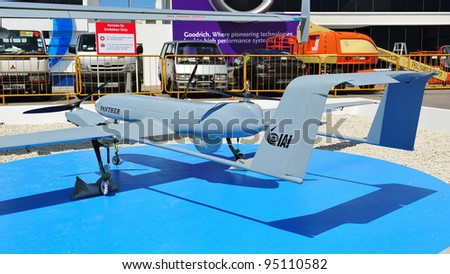 SINGAPORE - FEBRUARY 12: Israel Aerospace Industries (IAI) showcasing their VTOL capable Panther unmanned aerial vehicle (UAV) at Singapore Airshow February 12, 2012 in Singapore