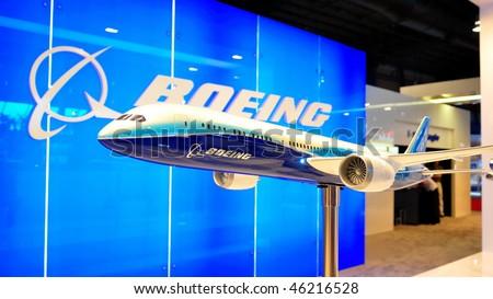 SINGAPORE - FEBRUARY 03: Model of Boeing 787 Dreamliner at Singapore Airshow February 03, 2010 in Singapore