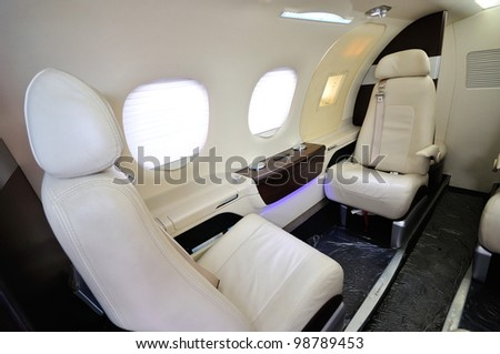 SINGAPORE - FEBRUARY 17: Posh and spacious interior of a business jet at Singapore Airshow February 17, 2012 in Singapore