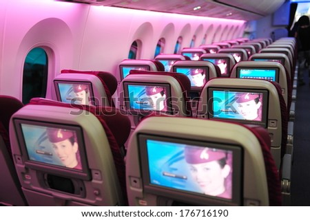 SINGAPORE - FEBRUARY 12: Qatar Airways' Boeing 787-8 Dreamliner economy class cabin and inflight entertainment system (IFE) at Singapore Airshow February 12, 2014 in Singapore