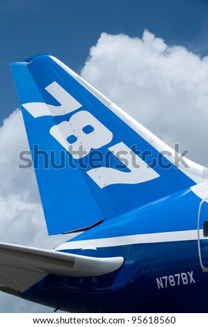 SINGAPORE - FEBRUARY 12: Tail fin of Boeing 787 Dreamliner at Singapore Airshow in Singapore on February 12, 2012.