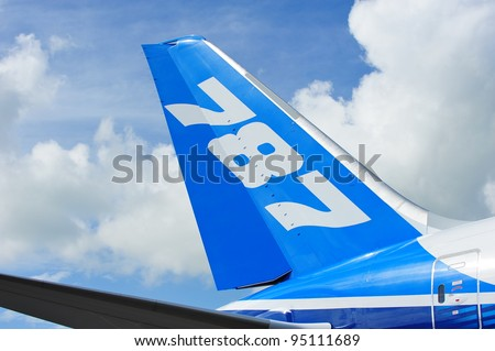 SINGAPORE - FEBRUARY 12: Tail of Boeing 787 Dreamliner aircraft at Singapore Airshow February 12, 2012 in Singapore