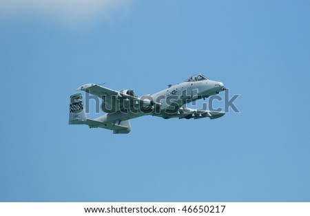 SINGAPORE - FEBRUARY 3: United States Air Force A-10 Thunderbolt II fighter aircraft at Singapore Airshow 2010 at Changi Exhibition Centre, Singapore on February 3, 2010. - stock photo