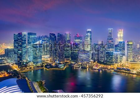 Singapore Financial District skyline at dusk. #457356292