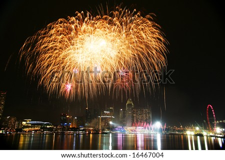 Singapore Fireworks Festival 2008 with city as backdrop