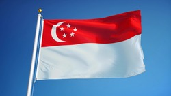 Singapore flag waving against clean blue sky, close up, isolated with clipping path mask alpha channel transparency