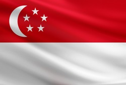 Singapore flag with fabric texture