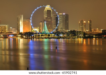 Singapore flyer and skyline at night