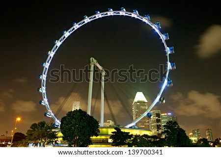 Singapore Flyer at night - the Largest Ferris Wheel in the World.