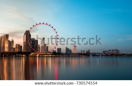 Singapore flyer in evening  #730574554