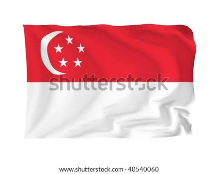 Singapore. High resolution Asian Flag series. With fabric texture.
