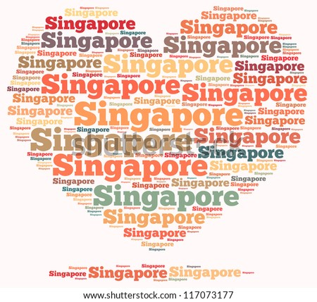Singapore info-text graphics and arrangement concept on white background (word cloud)