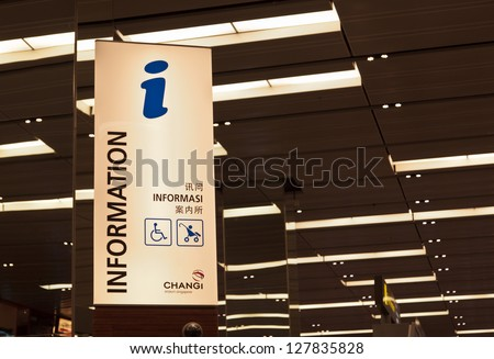 SINGAPORE - JAN. 05: A view of a information sign in Changi Airport on January 5, 2013 in Singapore. Airport is major aviation hub in Asia with throughput exceeding 51 mln passengers per year.
