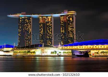 SINGAPORE - JANUARY 05: Closeup Marina bay Sands at night on January 05, 2012. Marina Bay Sands is an integrated resort fronting Marina Bay in Singapore.