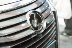 SINGAPORE - JANUARY 14, 2018: Front Grill and Emblem from Lexus RX Turbo  RX200tat motorshow in Singapore.