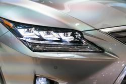 SINGAPORE - JANUARY 14, 2018: Headlight from Lexus RX Turbo  RX200tat motorshow in Singapore.