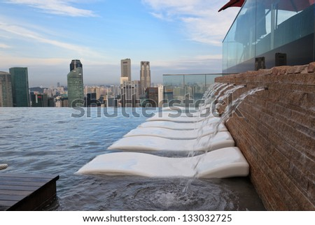 SINGAPORE - JANUARY 5: Infinity swimming pool of the Marina Bay Sands on January 5 , 2013 in Singapore. It is 150m long and set on world's largest cantilevered platform.