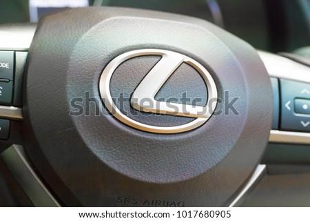 SINGAPORE - JANUARY 14, 2018: Logo from Lexus RX Turbo  RX200tat motorshow in Singapore.