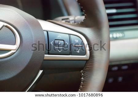 SINGAPORE - JANUARY 14, 2018: Media Button at Steering Wheel from Lexus RX Turbo  RX200tat motorshow in Singapore.