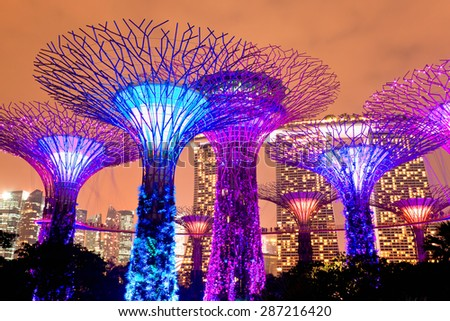 SINGAPORE - JANUARY 22: Night view of The Supertree Grove at Gardens near Marina Bay January 22, 2014 Singapore. Gardens by Bay was crowned World Building of Year at World Architecture Festival 2012