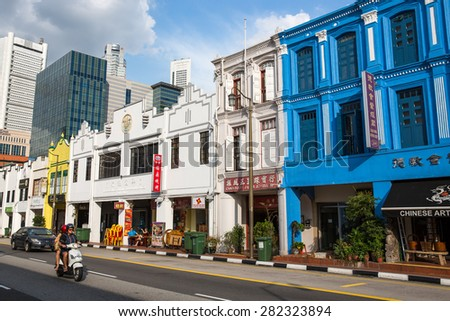 Singapore, January 5, 2015: View of Chinatown, an ethnic neighbourhood featuring distinctly Chinese cultural elements and a historically concentrated ethnic Chinese population.