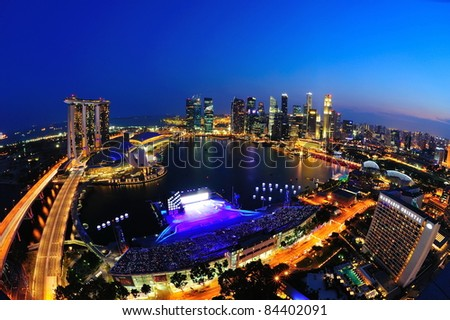 SINGAPORE - JULY 09: Aerial view of Singapore Marina Bay area with its financial and tourism district on July 09, 2011 in Singapore.