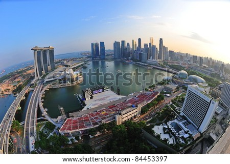 SINGAPORE - JULY 09: Aerial view of Singapore Marina Bay area with its financial and tourism district, including its latest Marina Bay Sands Integrated Resort on July 09, 2011 in Singapore.