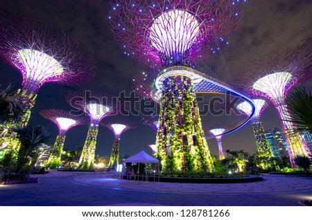 SINGAPORE - JULY 13 : Night view of The Supertree Grove at Gardens by the Bay on Jul 13, 2012 in Singapore. Spanning 101 hectares of reclaimed land in central Singapore, adjacent to Marina Reservoir.