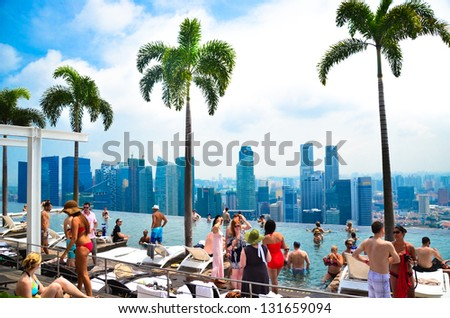 SINGAPORE - JULY 12 : Swimming pool of the Marina Bay Sands on July 12 , 2012 in Singapore. It's the world's most expensive standalone casino property at US$ 6.3 billion.