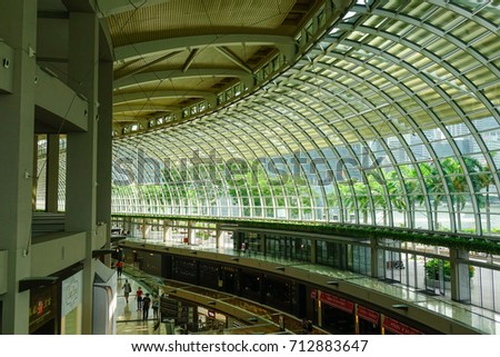Singapore - Jun 13, 2017. Interior of Marina Bay Shopping Mall in Singapore. Singapore economy has been ranked as the most open in the world, most pro-business, with low tax rates. #712883647