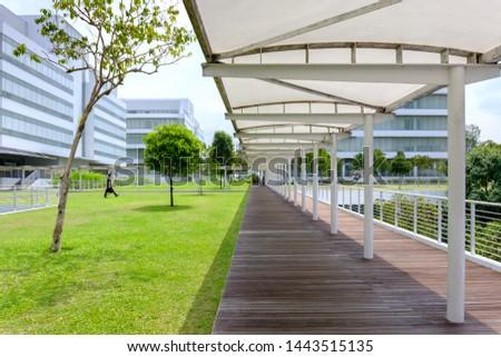 Singapore-27 JUN 2019:Singapore Republic Polytechnic roof garden shelter corridor #1443515135