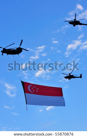 Singapore Escort Picture on Stock Photo   Singapore   June 19  Chinook Flying The Singapore State