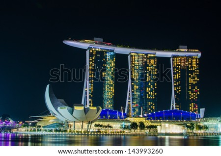 SINGAPORE - JUNE 6 : Marina Bay Sands at night , World's most expensive standalone casino property in Singapore on June 6,2013