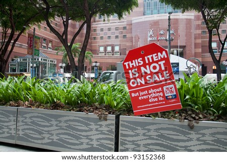 SINGAPORE - JUNE 26: The Great Singapore Sale poster in Orchard road, Singapore,June 26,2009. GSS is annual shopping event. It's organized by Singapore Tourism Board, stores & malls to promote tourism - stock photo