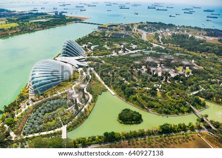 Singapore, Malaysia - April 4, 2016: Marina Bay Sands Park in Singapore. aerial view by day. Marina Bay Sands Park in Singapore #640927138