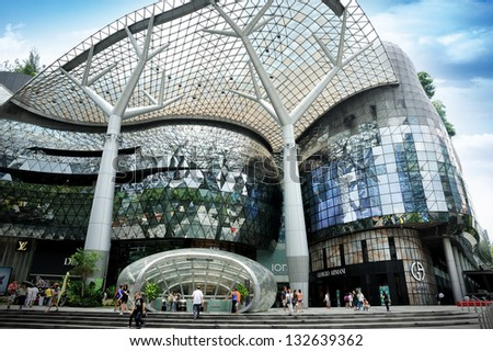 SINGAPORE - MAR 23 : Day view of ION Orchard shopping mall on Mar 23, 2013 in Singapore Orchard Road. The Media Facade is a multi-sensory canvas media wall made with cutting-edge technology.