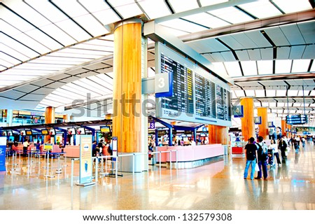 SINGAPORE - MARCH 05 : Changi International Airport on March 05, 2013 in Singapore. Changi Airport serves more than 100 airlines operating 6,100 weekly flights connecting Singapore to over 220 cities