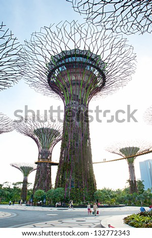 SINGAPORE - MARCH 05: Gardens by the Bay at sunset on March 05, 2013 in Singapore. Gardens by the Bay was crowned World Building of the Year at the World Architecture Festival 2012