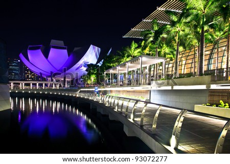 SINGAPORE-MARCH 13: Marina Bay Sands Resort Hotel at night on March 13, 2011 in Singapore. It is billed as the world's most expensive standalone casino property at S$8 billion.