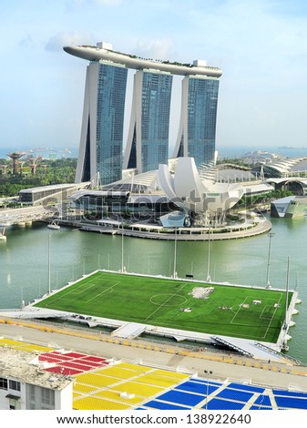 SINGAPORE - MARCH 08: Marina Bay Sands Resort on March 08, 2013 in Singapore. It is billed as the world's most expensive standalone casino property at S$8 billion