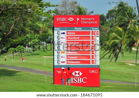 SINGAPORE - MARCH 2: Score board displaying players status during HSBC Women\'s Champions at Sentosa Golf Club Serapong Course March 2, 2014 in Singapore
