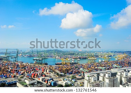 SINGAPORE - MARCH 07: Singapore commercial port on March 07, 2013 in Singapore. It's the world's busiest port in terms of total shipping tonnage, it transships a fifth of the world shipping containers