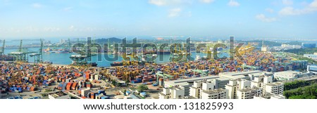 SINGAPORE - MARCH 07: Singapore industrial port on March 07, 2013 in Singapore. It's a world's busiest port in terms of total shipping tonnage, it transships a fifth of the world's shipping containers