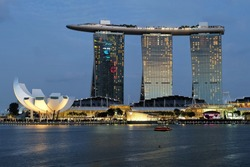 Singapore Marina Bay sunset view