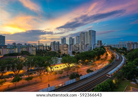 Singapore mass rapid train (MRT) travels on the track. The MRT has 106 stations and is the second-oldest metro system in Southeast Asia.