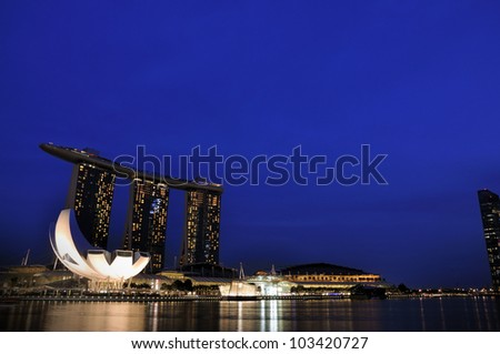 SINGAPORE-MAY 17: The Marina Bay Sands Resort Hotel on May 17, 2012 in Singapore. It is an integrated resort and the world�s most expensive standalone casino property at S$8 billion.