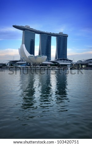 SINGAPORE-MAY 17: The Marina Bay Sands Resort Hotel on May 17, 2012 in Singapore. It is an integrated resort and the world�s most expensive standalone casino property at S$8 billion. - stock photo