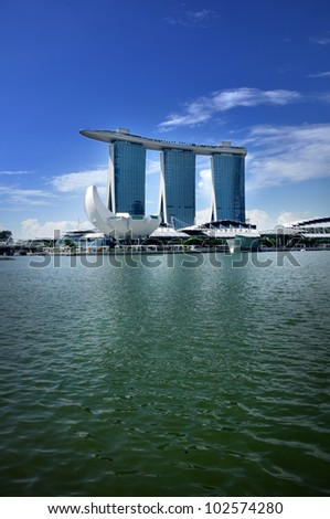 SINGAPORE-MAY 9: The Marina Bay Sands Resort Hotel on May 9, 2012 in Singapore. It is an integrated resort and the world's most expensive standalone casino property at S$8 billion.
